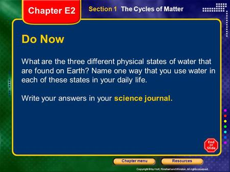 Chapter E2 Section 1  The Cycles of Matter Do Now