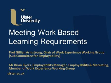 Ulster.ac.uk Meeting Work Based Learning Requirements Prof Gillian Armstrong, Chair of Work Experience Working Group (Sub Committee for Employability)