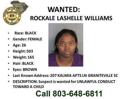 WANTED: ROCKALE LASHELLE WILLIAMS Race: BLACK Gender: FEMALE Age: 26 Height: 503 Weight: 165 Hair: BLACK Eyes: BROWN Last Known Address: 207 KALMIA APTS.