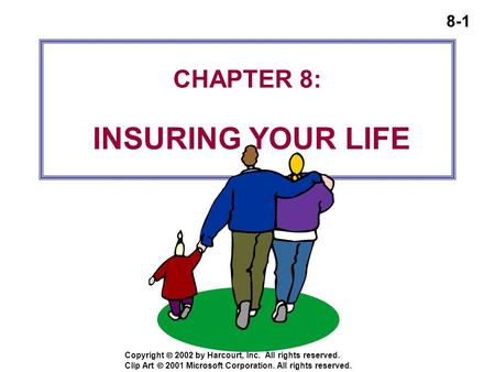 8-1 Copyright  2002 by Harcourt, Inc. All rights reserved. CHAPTER 8: INSURING YOUR LIFE Clip Art  2001 Microsoft Corporation. All rights reserved.