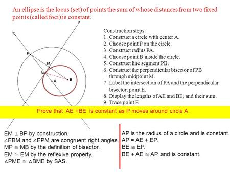 Construction steps: 1.Construct a circle with center A. 2.Choose point P on the circle. 3.Construct radius PA. 4.Choose point B inside the circle. 5.Construct.