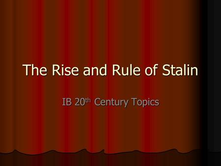 an analysis of joseph stalins rise to absolute power in soviet union Joseph stalin was setting the stage for gaining absolute power joseph stalin took during his rise to power by soviet union joseph stalins rule.