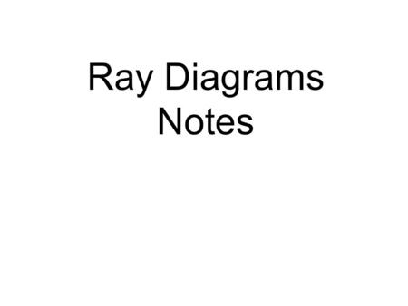 Ray Diagrams Notes. Lenses change the paths of light.