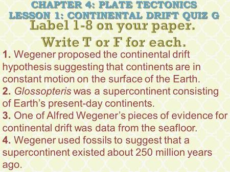 Chapter 4: Plate Tectonics Lesson 1: Continental Drift Quiz G