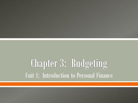 Unit 1: Introduction to Personal Finance