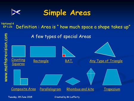 "National 4 EF 1.2b Tuesday, 09 June 2015 Created by Mr.Lafferty Simple Areas Definition : Area is "" how much space a shape takes up"" A few types of special."