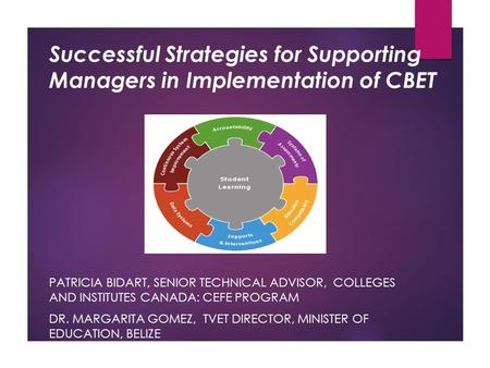 Successful Strategies for Supporting Managers in Implementation of CBET PATRICIA BIDART, SENIOR TECHNICAL ADVISOR, COLLEGES AND INSTITUTES CANADA: CEFE.