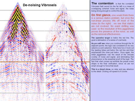 De-noising Vibroseis The contention is that the correlated Vibroseis field record (to the far left) is a mess of overlapping coherent noise and signal,