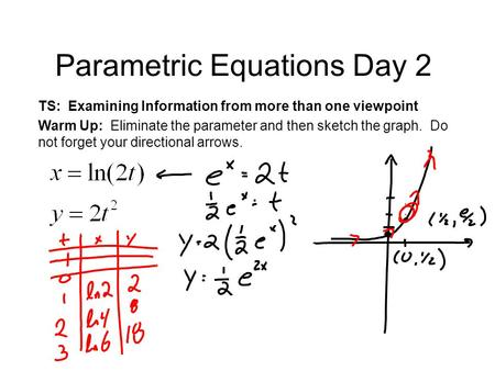 Parametric Equations Day 2 TS: Examining Information from more than one viewpoint Warm Up: Eliminate the parameter and then sketch the graph. Do not forget.