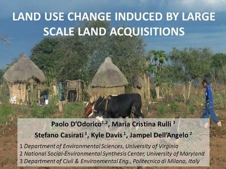 LAND USE CHANGE INDUCED BY LARGE SCALE LAND ACQUISITIONS Paolo D'Odorico 1,2, Maria Cristina Rulli 3 Stefano Casirati 3, Kyle Davis 1, Jampel Dell'Angelo.