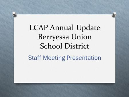 LCAP Annual Update Berryessa Union School District Staff Meeting Presentation.