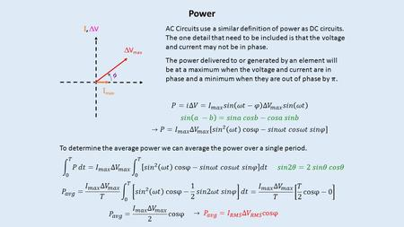 Power I, VI, V I max  V max  I, VI, V I max AC Circuits use a similar definition of power as DC circuits. The one detail that need to be included.