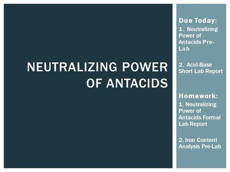 Neutralizing Power of Antacids