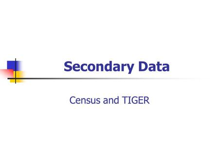 Secondary Data Census and TIGER. Why Secondary Data? Context (geographic, temporal, social) for primary data. Secondary data may provide validation for.