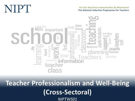 Teacher Professionalism and Well-Being (Cross-Sectoral) NIPTWS01.