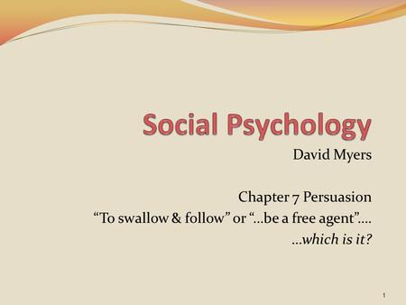 Social psychology essay on persuasion