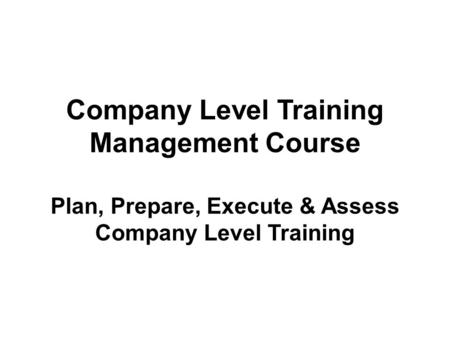 Company Level Training Management Course