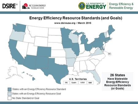 Energy Efficiency Resource Standards (and Goals) www.dsireusa.org / March 2015 26 States Have Statewide Energy Efficiency Resource Standards (or Goals)