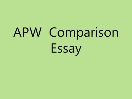 Ap history comparative essay rubric