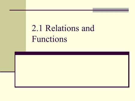 2.1 Relations and Functions. In this chapter, you will learn: What a function is. Review domain and range. Linear equations. Slope. Slope intercept form.
