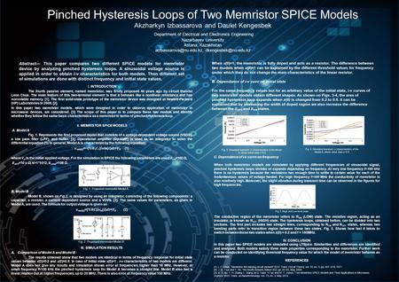 Pinched Hysteresis Loops of Two Memristor SPICE Models Akzharkyn Izbassarova and Daulet Kengesbek Department of Electrical and Electronics Engineering.