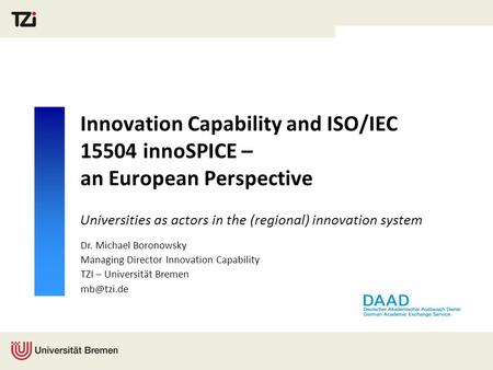 Universities as actors in the (regional) innovation system