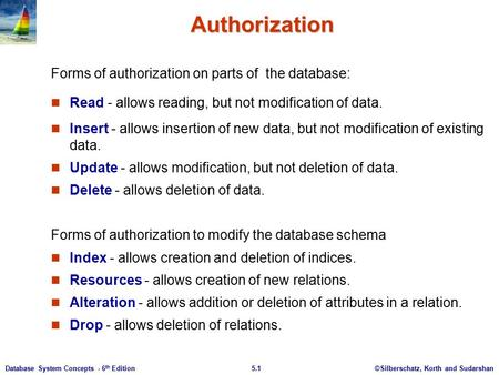 ©Silberschatz, Korth and Sudarshan5.1Database System Concepts - 6 th Edition Authorization Forms of authorization on parts of the database: Read - allows.