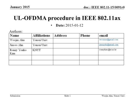 Submission doc.: IEEE 802.11-15/0091r0 January 2015 Woojin Ahn, Yonsei Univ.Slide 1 UL-OFDMA procedure in IEEE 802.11ax Date: 2015-01-12 Authors:
