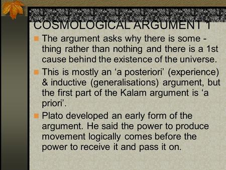 COSMOLOGICAL ARGUMENT 1