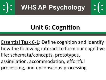 WHS AP Psychology Unit 6: Cognition Essential Task 6-1: Define cognition and identify how the following interact to form our cognitive life: schemata/concepts,