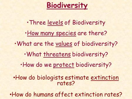 Biodiversity Three levels of Biodiversity How many species are there? What are the values of biodiversity? What threatens biodiversity? How do we protect.