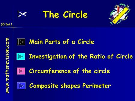 S5 Int 1 The Circle Circumference of the circle www.mathsrevision.com Main Parts of a Circle Investigation of the Ratio of Circle Composite shapes Perimeter.