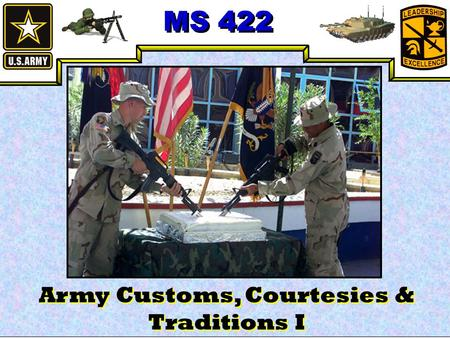 MS 422 Army Customs, Courtesies & Traditions I. MS 422 Agenda Titles Saluting Basics Courtesies Honors Questions.