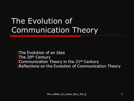 The Evolution of Communication Theory