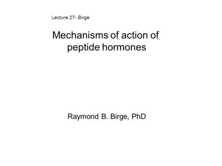 Mechanisms of action of peptide hormones Raymond B. Birge, PhD Lecture 27- Birge.