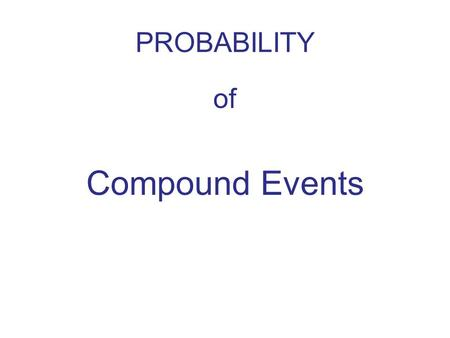 PROBABILITY of Compound Events.