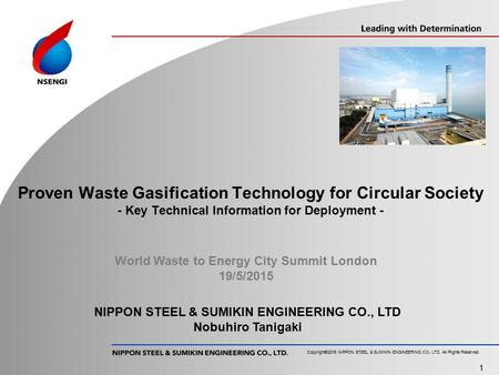 Proven Waste Gasification Technology for Circular Society