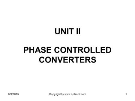 PHASE CONTROLLED CONVERTERS