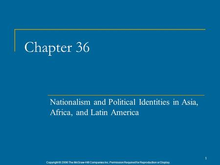 Copyright © 2006 The McGraw-Hill Companies Inc. Permission Required for Reproduction or Display. 1 Chapter 36 Nationalism and Political Identities in Asia,