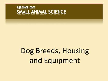 Dog Breeds, Housing and Equipment. Classification...  Common ancestor called Tomarctus  Probably first domesticated animal  Domestic dog (Canis familiaria)