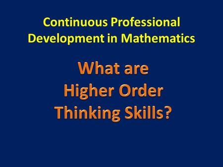 Continuous Professional Development in Mathematics