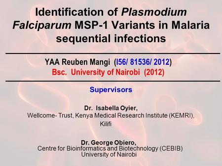 Identification of Plasmodium Falciparum MSP-1 Variants in Malaria sequential infections YAA Reuben Mangi (I56/ 81536/ 2012) Bsc. University of Nairobi.