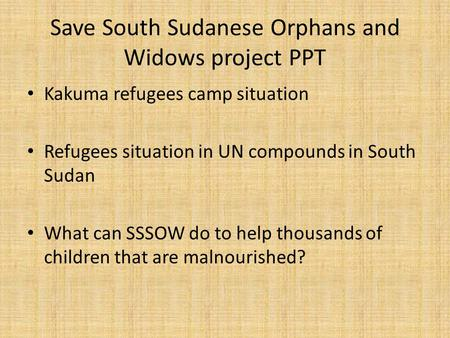 Save South Sudanese Orphans and Widows project PPT