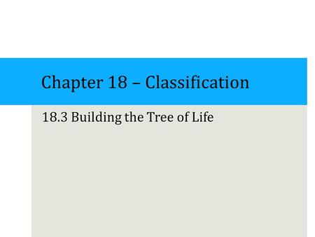 Chapter 18 – Classification