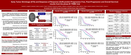 Early Tumor Shrinkage (ETS) and Deepness of Response (DoR) predict Progression Free, Post-Progression and Overall Survival: results from the phase III.
