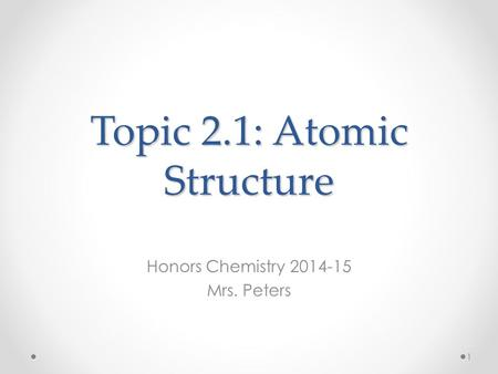 Topic 2.1: Atomic Structure Honors Chemistry 2014-15 Mrs. Peters 1.