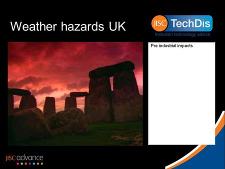 Weather hazards UK. An interesting place to live Fog / mist Flooding Gales Drought Snow / ice Click on any of the weather hazard types on the left to.