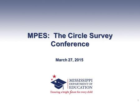 MPES: The Circle Survey Conference March 27, 2015 1.