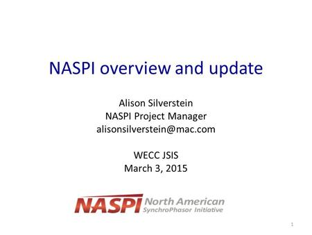 NASPI overview and update