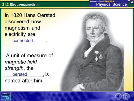 21.2 <strong>Electromagnetism</strong> In 1820 Hans Oersted discovered how magnetism and electricity are ______________. A unit of measure of magnetic <strong>field</strong> strength, the.